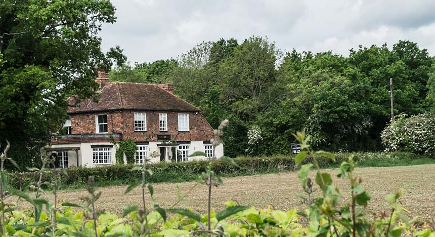 The Rose & Crown from across the field